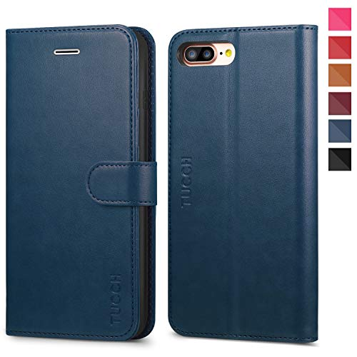 TUCCH iPhone 8 Plus Wallet Case, iPhone 7 Plus Case, PU Leather 3 Credit Card Holders and 1 Money Slot Case with Kickstand, Folio Flip Cover [TPU Interior Case] Compatible with iPhone 8 Plus, Blue