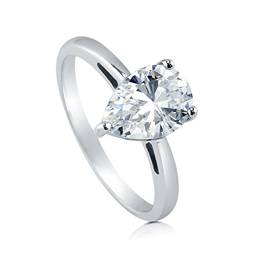 (BERRICLE Rhodium Plated Sterling Silver Pear Cut Cubic Zirconia CZ Solitaire Engagement Ring Size)