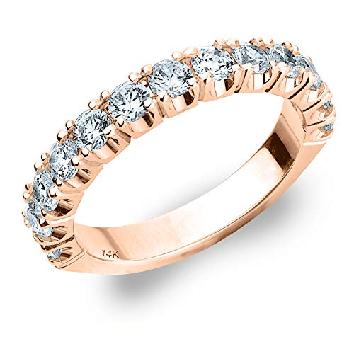 1ct Genuine Diamond Ring, 4-Prong Wedding Anniversary Band in 14K Rose Gold - Finger Size - 4 Genuine Diamond Prong