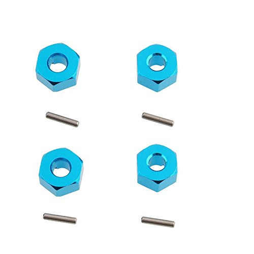 Blue 7mm Aluminum Wheel Hex Mount Hubs Adapter Stub Axle Pins Upgrade Parts For WLtoys 1/18 A949 A959 A969 A979 (Stub Axle Pins)