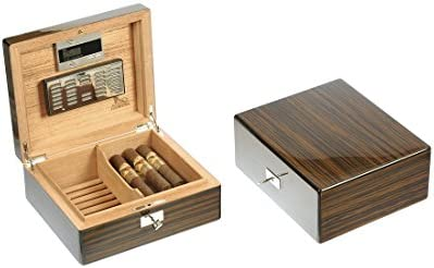 Caja para puros Humidor Humidificador para 50 puros ébano brillante Lubinski: Amazon.es: Salud y cuidado personal
