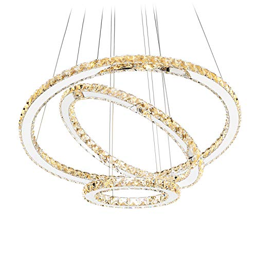 Antilisha Modern Crystal Chandelier Lighting Ceiling Dining Living Room Chandeliers Contemporary Led Light Fixtures Long Round 3-Ring Foyer Girls Bedroom Pendant Lights Warm White
