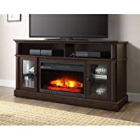 BARSTON LAMINATED WOOD FIREPLACE DARK RUSTIC BROWN TV STAND (Brown)