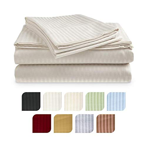 Crystal Trading 4-Piece Bed Sheet Set - Dobby Stripe - 100% Cotton Sateen - 300 Thread Count (Twin, Ivory)