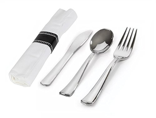 CucinaPrime Individually Wrapped Disposable Table Settings – Includes Silver-Like Fork, Spoon, Knife and Cloth-Like…