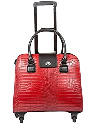 Hang Accessories Harlequin Red Crocodile Rolling Trolley Bag