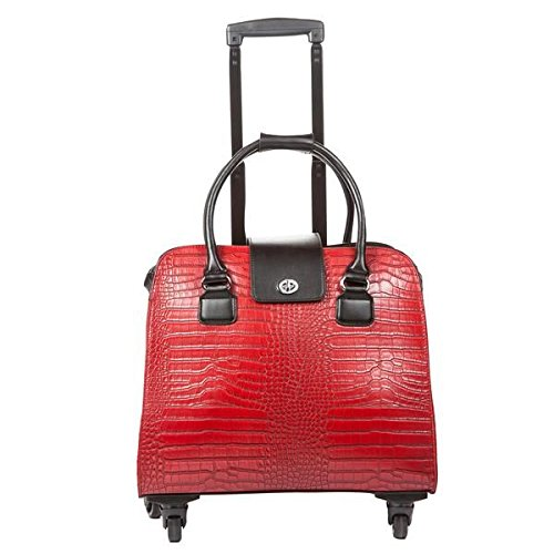 Hang Accessories Harlequin Red Crocodile Rolling Trolley Bag by Hang Accessories