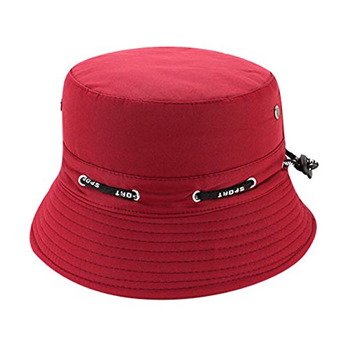 Quaanti Outdoor Unisex Boonie Sun Hat丨Cool Breathable 100% Cotton Bucket Summer Sun Cap for Men & Women丨for Fishing,Hiking,Camping,Boating & Outdoor Adventures.Breathable (Wine red)