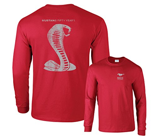Fair Game Mustang Fifty Years Ford Cobra Grey Snake Long Sleeve Shirt-Red-XL (Mustang Red T-shirt)