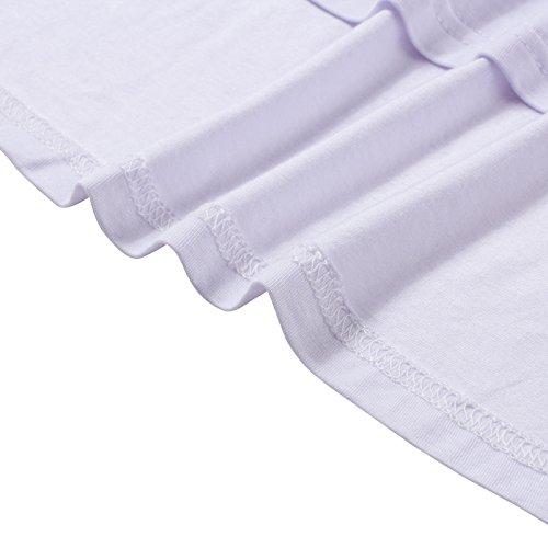 Beauty7 Camisetas Mujer Casual Loose Suelto 3/4 Mangas Cuello Pico Blusas Verano Hot T Shirt Camisas Parte Superior Tops Tee Blanco