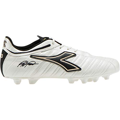 Diadora Men's Baggio 03 Italy LT MDPU Soccer Cleats, 12.0 D(M) US, White Pearl/Gold/Black