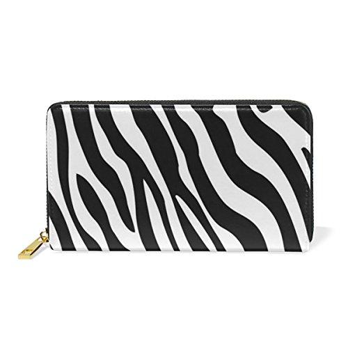 Zebra Print Checkbook Wallet - Skin Zebra Print Leather Large Long Zipper Clutch Women Wallet Phone Passport Checkbook Card Holder