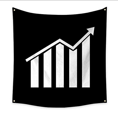 Rug Chart Growth (Anniutwo Beach Wall Tapestry Growth bar Chart icon Home Decorations 32W x 32L Inch)