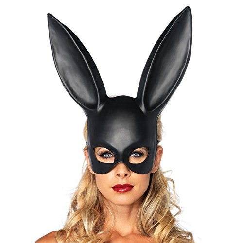 NEW Sexy Bondage Masquerade Bunny Rabbit Mask Adult Halloween Costume Accessory-Black (Halloween Games Adults)