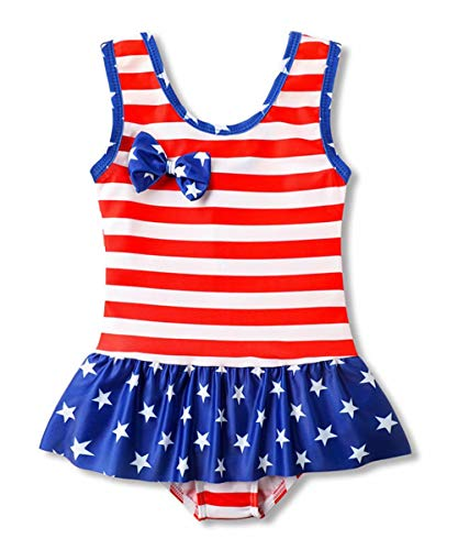 Baby Girls Stars and Stripes Ruffles Swimwear with Bowknot Little Princess USA Flag One-Piece Swimsuit Beach Rash Guard Size 5-6Years/Tag5T (Flag) -