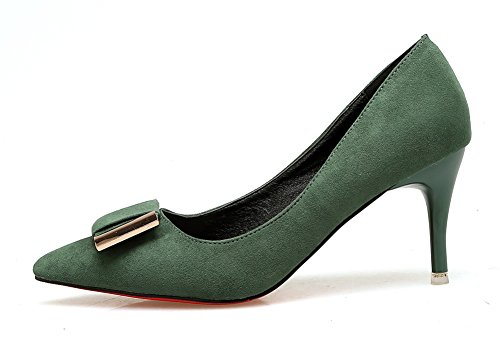 Aisun Damen Elegant Schleifen Metall Suede Low Cut Spitz Stiletto Pumps Grün