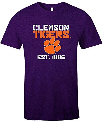 NCAA Clemson Tigers Est Stack Jersey Short Sleeve T-Shirt, Purple,X-Large