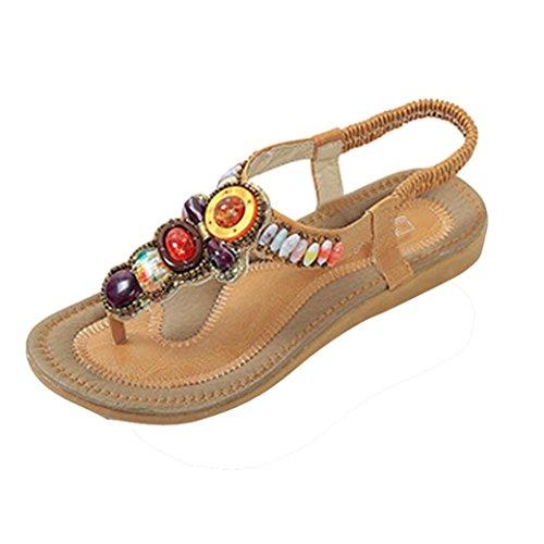 Sandalias de vestir, Ouneed ® Ojotas de mujer Bohemia estilo Retro sandalias Peep-toe ocio baja Amarillo