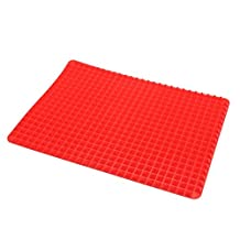 vismile Pyramid Shaped Pan Silicone Baking Cooking Mat Sheet Tray Icing Mould Non-stick for Oven Microwave Fridge (Red)