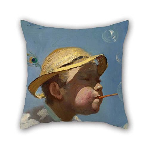 Oil Painting Paul Peel - The Bubble Boy Pillow Covers 16 X 16 Inches / 40 by 40 cm Gift Or Decor for Kids Car Festival Kids Boys Couch Dining Room - 2 Sides