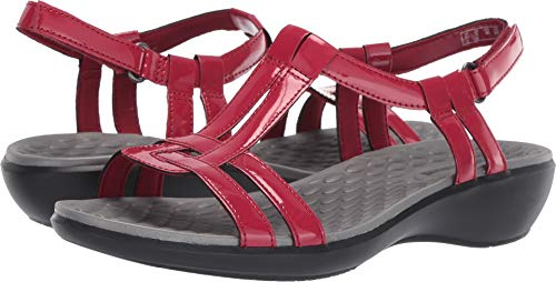 Red Patent Sandals (CLARK'S Women's Sonar Aster Sandal red Synthetic Patent 5.5 Medium US)