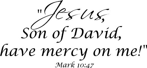 Mark 10:47 Vinyl Wall Art, Jesus, Son of David, Have Mercy on Me