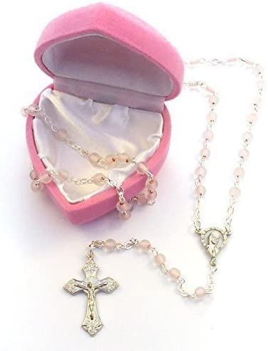 Rosario con cuentas pequeñas de vidrio rosas para niñas 'mi primer rosario' y caja - regalo para comunión