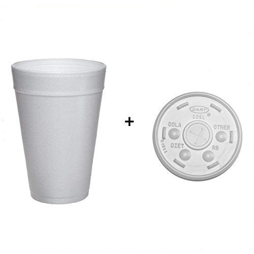 Dart 32TJ32 32 oz Foam Cup (Case of 500) and DART 32SL Plastic Lids Straw Slot Fits 32oz Hot/Cold Foam Cups White (Case of 500) ()