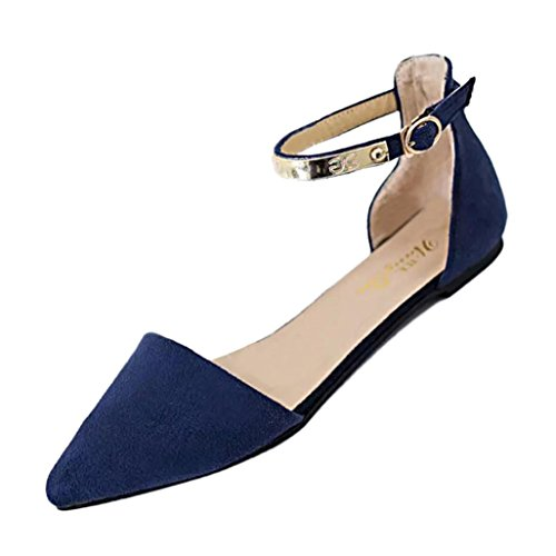 hunpta Ladies Slip Slipper Shoes On Slippers Flat Blue Flop Flip Faux Women Single Solid Slider Flock ggq4BxwrE