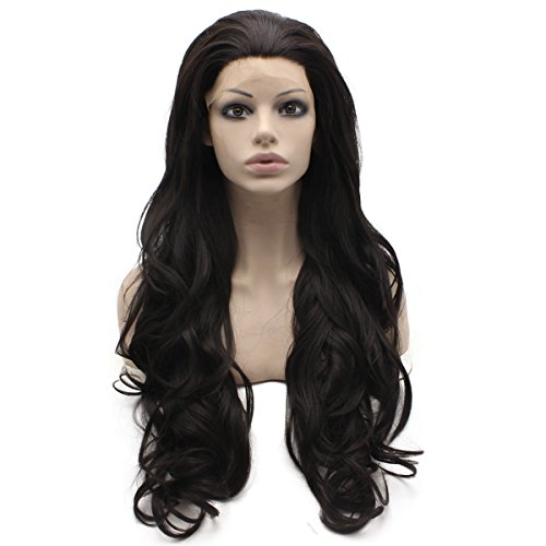 Mxangel Long Wavy Dark Brown Heat Friendly Synthetic Lace Front Wig Natural (Brown Angel Wig)