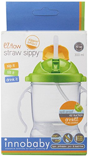 Innobaby Sippin' Smart EZ Flow Straw Sippy Cup, Green, 10 (Sippy Pal)