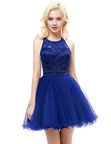 Gown Prom Aurora (Aurora Bridal Women's Halter Beaded Homecoming Dresses Short 2018 Tulle Prom Gown Custom Size Royal Blue)