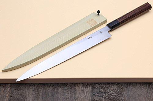 Yoshihiro Hongasumi Blue Steel Yanagi Sushi Sashimi Japanese Knife Rosewood Handle (240mm/9.5'') by Yoshihiro (Image #1)