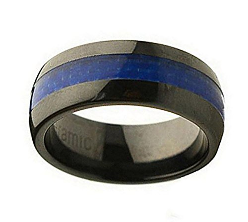 Ceramic Wedding Band Ring 8mm Blue Carbon Fiber Inlay Black Ring