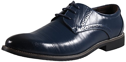 LIYZU Men's Leather Lace Up Modern Dress Oxford Shoes US Size 11 Blue