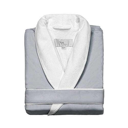 Luxury Terry Robes - Turkishtowels Mens and Womens Silk-Soft Microfiber Outside, Cotton Terry Inside Luxury Spa Robe (Large/X-Large, Silversage)