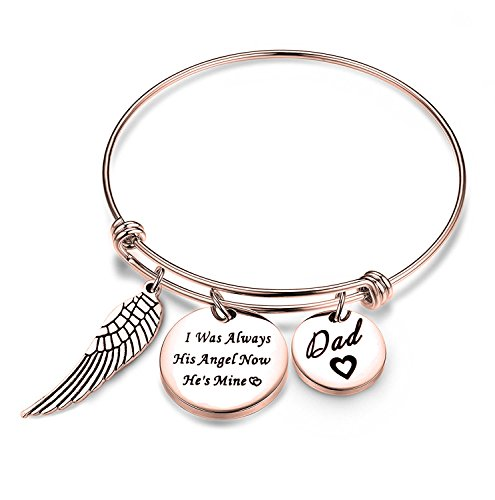 ENSIANTH Dad Memorial Jewelry I was Always His Angel Now He's Mine Bangle Jewelry Sympathy Gift for Her with Angel Wing(RG-Bracelet)