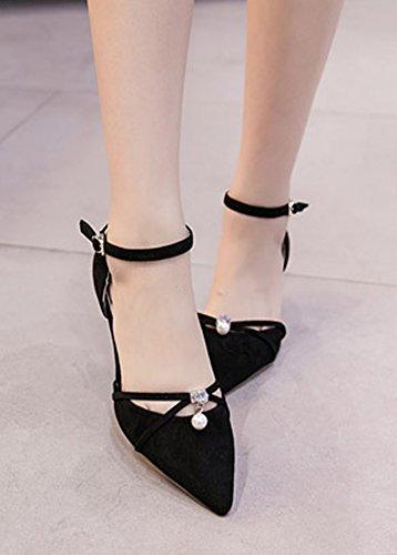 Aisun Femmes Perles Faux Daim Pointu Orteil Boucle Stiletto Chaton Talon Robe Dorsay Cheville Sangle Pompes Chaussures Noir