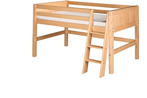 - Camaflexi Panel Style Solid Wood Low Loft Bed, Twin, Side Angled Ladder, Natural