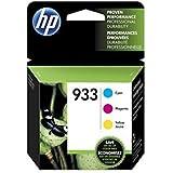 HP 933 Cyan, Magenta & Yellow Original Ink Cartridges, 3 Cartridges (CN058AN, CN059AN, CN060AN) for HP Officejet 6100, 6600, 6700, 7110, 7510, 7610, 7612