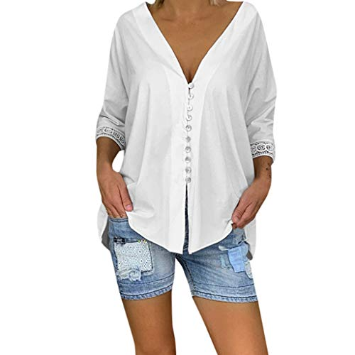 QQ1980s Womens Casual V Neck Cuffed Pleated Buttoned Lace Long Sleeve Blouse Shirts Summer