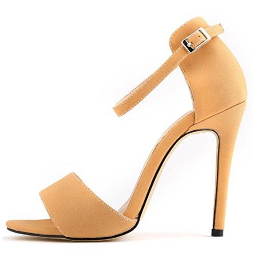 Sandalias de tacon alto - SODIAL(R)Nuevas sandalias de tacon de aguja de dedo mirado de entretenimiento de verano caqui 36