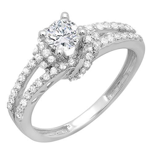 Dazzlingrock Collection 0.55 Carat (Ctw) 14k Round Diamond Ladies Bridal Semi Mount Ring (No Center Stone), White Gold, Size 8