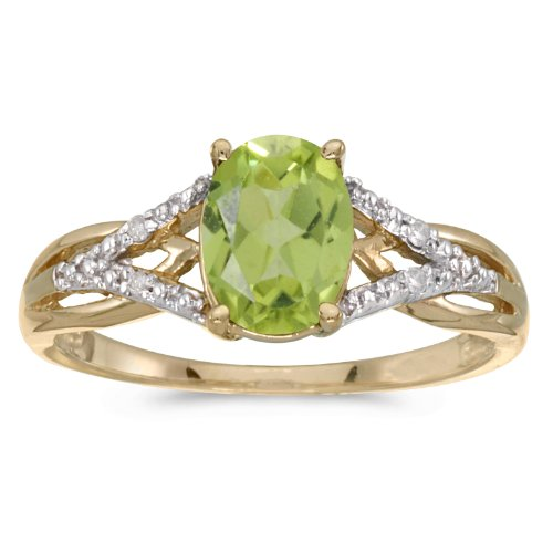 Jewels By Lux 14k Yellow Gold Genuine Green Birthstone Solitaire Oval Peridot And Diamond Wedding Engagement Ring - Size 9 (1.22 Cttw.) ()