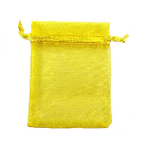 LOLPI 100PCS Candy Mesh Bag, Transparent Visible Mesh Bag, Drawstring Design. Can Accommodate Small Items and Can Also Be Used to Package Candy( 3.9x5.9 Inch (Yellow) by LOLPI