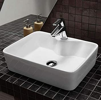 Table Top Ceramic Wash Basin Dimension 19 X 15 Inch Glossy Finish Counter Top Tabletop Bathroom Sink Super White Color Amazon In Home Improvement