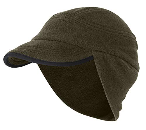 Home Prefer Winter Warm Skull Cap Outdoor Windproof Fleece Earflap Hat with Visor (Olive Green)