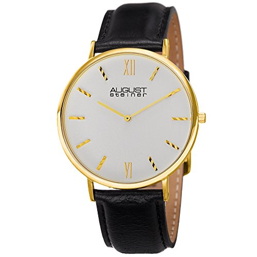August Steiner Men's AS8166YG Yellow Gold Quartz Classic Watch with White Dial and Black Leather ()