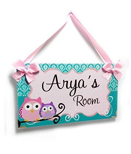 Childrens Name Plaques (Name Plaque for Girls Bedroom Teal Damask Shabby Frame with Cute Owls)