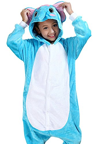 ABING Halloween Pajamas Homewear OnePiece Onesie Cosplay Costumes Kigurumi Animal Outfit Loungewear,Blue Elephant Chidren Size 125 -for Height:138-148cm